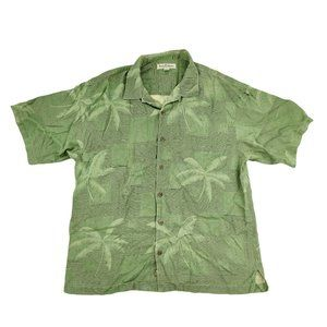 Tommy Bahama Hawaiian Shirt Men's XL Green Silk